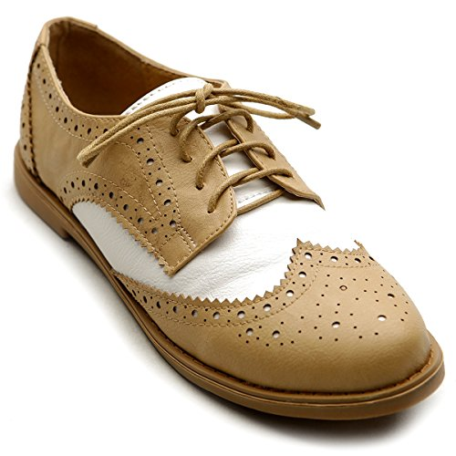 Ollio Women's Flat Shoe Wingtip Lace Up Two Tone Oxford M2913(8 B(M) US, Sand) Ladies Oxford Shoes