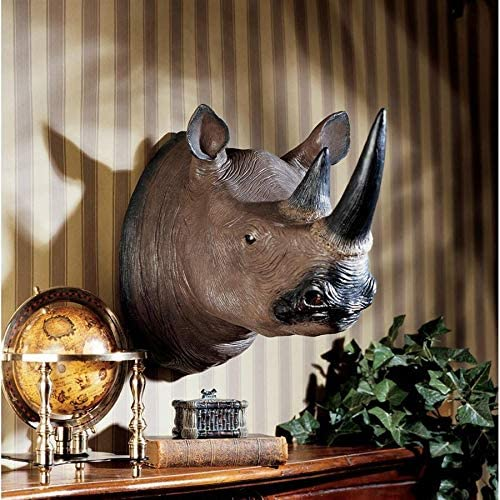 Design Toscano Black Rhinoceros Wall Trophy