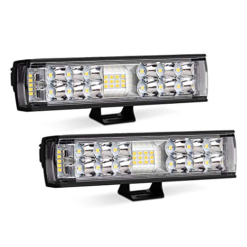 7 inch Led Light Bar,Autofeel 2 Pcs LED Pods Flood Spot Combo Beam 60W 6500K Driving Work Fog Light Off Road Super Bright Waterproof for Jeep UTV Truck Sand Rail ATV SUV Ford Chevrolet