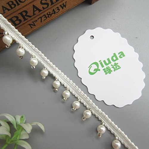 2 Meters Pearl Beaded Lace Trim Ribbon Edge Grosgrain Tape 1//2 inch Width Vintage Style White Edging Trimming Fabric Embroidered Applique Sewing Craft Wedding Bridal Dress Sash Belt DIY Gift Style 1