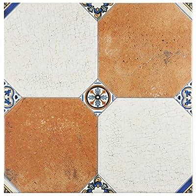 """SomerTile FEM13MNM Maises Ceramic Floor and Wall Tile, 13.125"""" x 13.125"""", Cream/Blue/Orange/Black/Green/White"""