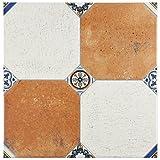 SomerTile FEM13MNM Maises Ceramic Floor and Wall Tile, 13.125'' x 13.125'', Cream/Blue/Orange/Black/Green/White
