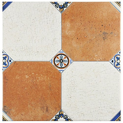 SomerTile FEM13MNM Maises Ceramic Floor and Wall Tile, 13.125'' x 13.125'', Cream/Blue/Orange/Black/Green/White by SOMERTILE