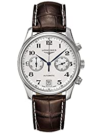 Longines Men's 39mm Brown Leather Band Steel Case Automatic Silver-Tone Dial Analog Watch L2.669.4.78.3
