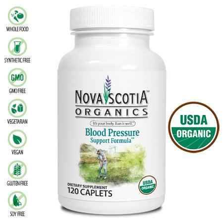 Nova Scotia Organics Blood Pressure Support Formula (120 Caplets); Certified Organic; Vegan; Organic Garlic, Jiaogulan, Hawthron Berry, Grape Seed, Dandelion, Heal-All and Cayenne - Hawthorn Garlic