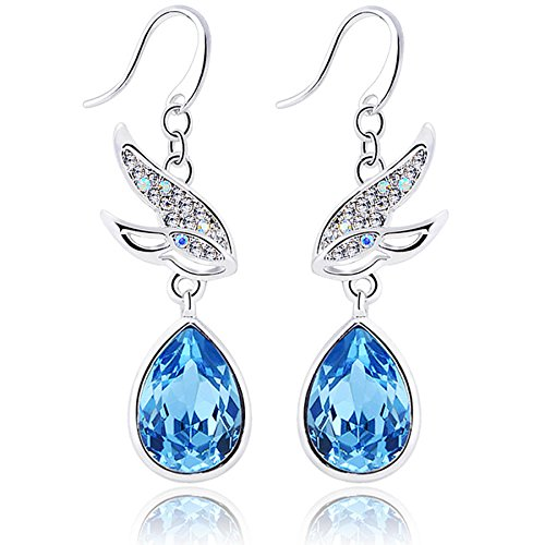 YELLOW CHIMES Swarovski Elements Fying Bird Blue Crysta Earrings For Women and Girls