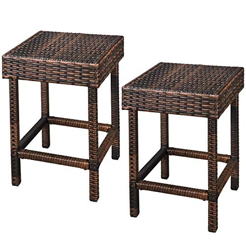 - Moon_Daughter 24 inch Hight Backless Chair Bar Stool Outdoor Brown Patio Relaxing Furniture 2 Pcs PE Wicker Finish