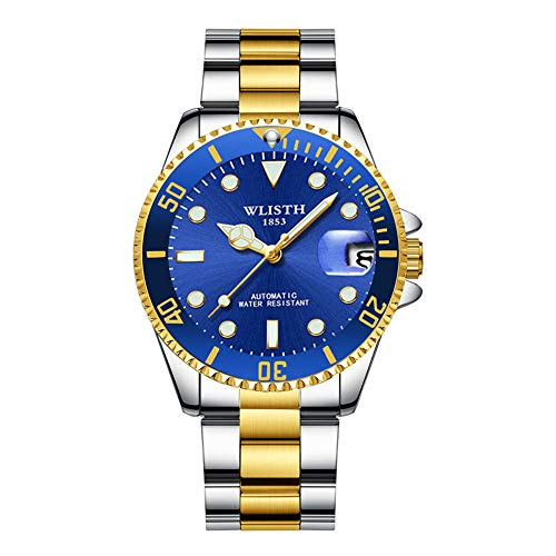 Bezel Calendar Bracelet - Automatic Men's Mechanical Watches Stainless Steel Waterproof Wrist Watch for Men, Self Wind, Luminous Dial, Calendar, Business Style Two-Tone Chronograph Watch with Screw Down Crown,Blue