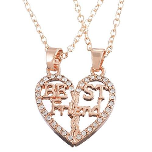 Filigree Heart Necklace Set - MJartoria Split Valentine Heart Rhinestone Best Friends Filigree Pendant Friendship Necklace Set of 2