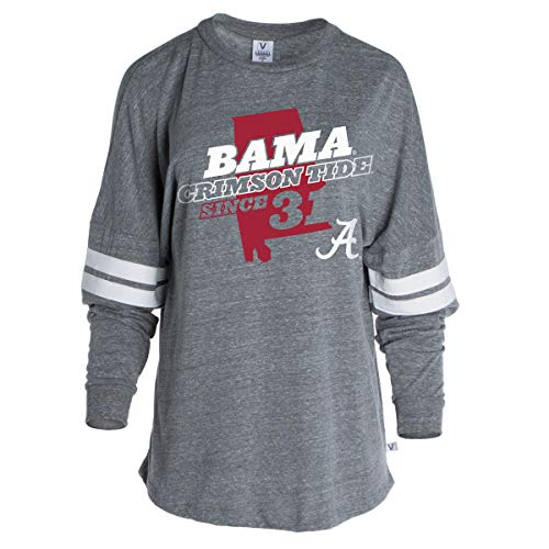 Football Striped T-shirt - Official NCAA Alabama Crimson Tide Women's Striped Oversized Football Tee,Tri-grey With White Stripes - Alprd01,Extra Large