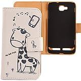 Lankashi PU Flip Leder Tasche Hülle Case Cover Handytasche Schutzhülle Etui Skin Für Samsung Ativ S I8750 Giraffe Design