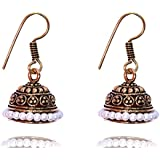 Sansar India White Beads Light Weight Small Golden Jhumka Jhumki Earrings for Women
