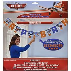 "Amscan DisneyPlanes 2 Birthday Party Add-An-Age Customizable Jumbo Letter Banner Decoration, 10' X 10"", Blue/Orange"