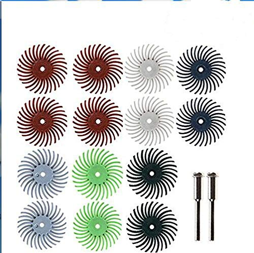 ZFE 25mm Detail Abrasive Brush Wheel Burr Mixed Grit Coarse For Proxxon Dremel Rotary Tools Pack Of 14Pcs by ZFE