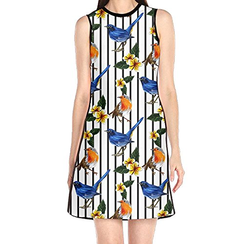 JJUSTING Tropical Exotic Bird Pattern Women's Fashion Summer Sleeveless Casual Loose Swing ()