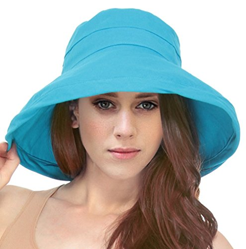Simplicity Women's Cotton Summer Beach Sun Hat with Wide Fold-Up Brim Turquoise