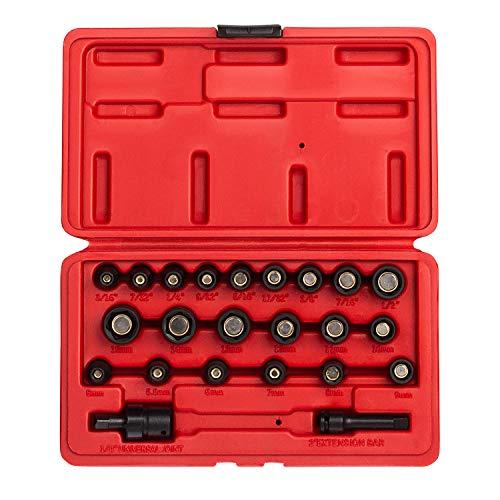 Sunex 1818, Juego de llaves magnéticas maestras de 1/4 pulg., 23 piezas, SAE / métrico, 3/16 - 1/2, 5 mm-15 mm, acero Cr-Mo, estuche de almacenamiento de servicio pesado, incluye junta universal y 2 Extensión