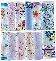 Forlisea Womens Colorful Ladies Hankies 100% Cotton Handkerchief Wendding Hanky