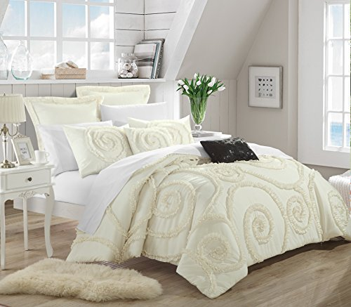 Chic Home 7-Piece Rosalia Ruffled Etched