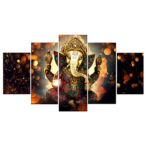 Kicode Wall Picture 5Pcs Set Ganesha Elephant Abstract Canvas Print Oil Painting Decorative Home Art Mural DIY