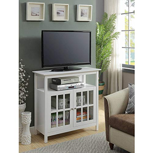 Birch Media Storage Cabinet - Classy TV Stand With One Open Shelf, Additional Glass Two-Door Cabinet, Storage Space, Solid Pine Wood And Beautiful Birch Veneer Construction, Adds Elegant And Stylish Look, White Finish