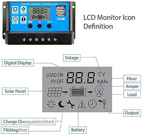 Solarladegerät Controller Solarpanel Batterie Intelligenter Regler, Solarladeregler Solarregler LCD Solarladegerät Ladesteuergerät Stromanzeige LCD-Solarpanel Mit Dual-USB - 60A / 50A / 40A / 30A