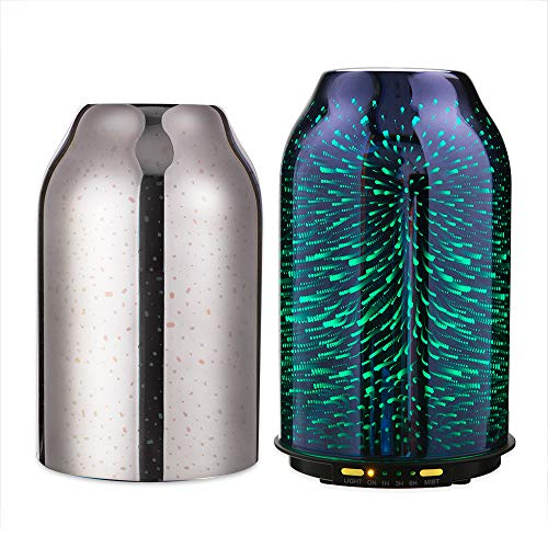 TaoTronics TT-AD008 Diffuser, Essential Oil Diffuser with Elegant 3D Glass, Compact 6.76 oz/200 mL Aroma Diffuser, Humidifier for Kids, Comes with 2 Glass Covers, Extra Silver Shade for Free ()