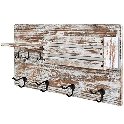Wall Mounted Coat Rack with Shelf - Rustic Whitewash Distressed Wood Farmhouse Decor Entryway Organizer - Coat and Key Hooks, Mail Organizer 24