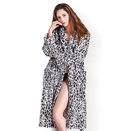 FINDOUX Robes for Women with Plush Cozy Fleece Robe Soft Comfy Warm Leopard Printed Bathrobe (Leopard, S/M) (Leopard Robe Hooded Print)