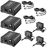 Neewer 3 Pack 1- Channel 48V Phantom Power Supply Black with Adapter and XLR Male to XLR Female Cable, 8 Feet, for Any Condenser Microphone Music Recording Equipment, Ideal for Stage and Studio Use