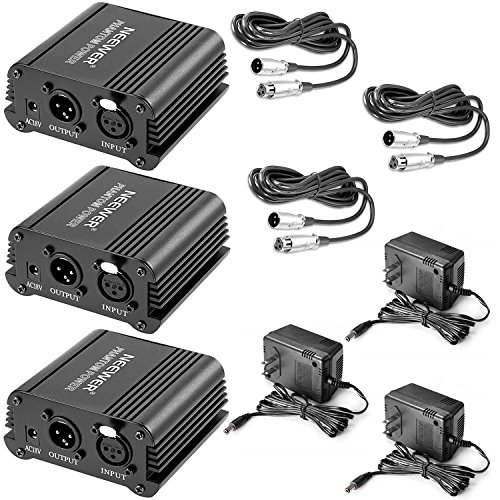 (Neewer 3 Pack 1- Channel 48V Phantom Power Supply Black with Adapter and XLR Male to XLR Female Cable, 8 Feet, for Any Condenser Microphone Music Recording Equipment, Ideal for Stage and Studio Use)