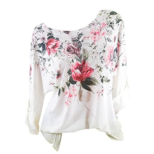 Imprim Bringbring Size Manches Chic Femmes Chemisier Pull Plus Fleur Longues Shirts Jaune Tops PnaqXw