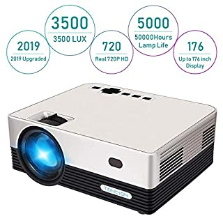 HD Projector, Tontion 2020 Upgrade 5500 Lux Video Projector Native 720P 179'' Display,50,000 Hour LED, Portable Projector Compatible with TV Stick, PS4,HDMI, VGA, USB, AV, TF, DVD Player