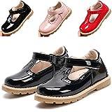 DADAWEN Girl's T-Strap School Uniform Dress Shoe Mary Jane Princess Flat Black US Size 6 M Toddler