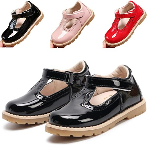 DADAWEN Girl's T-Strap School Uniform Dress Shoe Mary Jane Princess Flat Black US Size 8 M -
