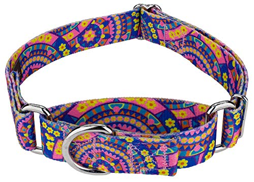 Country Brook Petz | Martingale Dog Collar - Groovy Collection with 5 Far Out Designs (Medium, 1 Inch Wide, Blue Boho Mandala) (Collars Slip Dog)