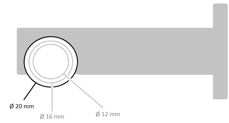 Tilldekor Innenlauf Gardinenstange HIGH-LINE FORMENTOR, 2-Lauf, schwarz-glanz, Ø Ø Ø 20 mm, 160 cm, inkl. Trägern und Gleitern bc1415