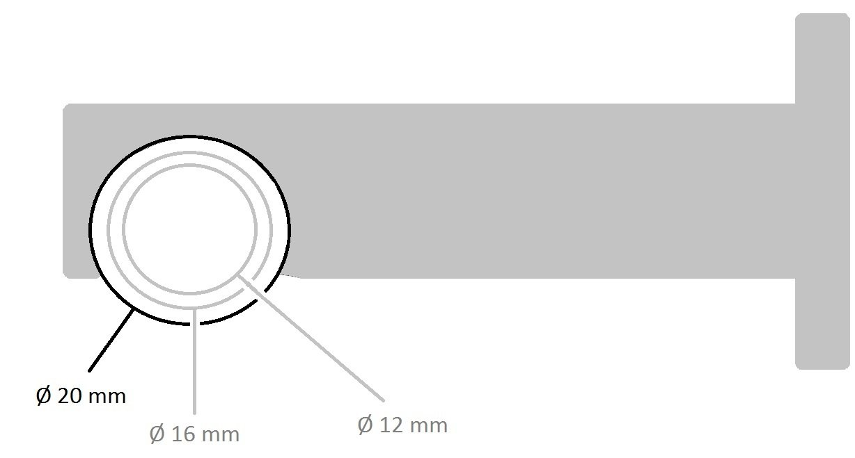 75 mm distance de mur m/étal 1-voie Tilldekor 20 mm support couleur inox tringlensupport f/ür rail /à voie int/érieuree