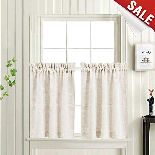 Tier Curtains for Kitchen Linen Textured Crude Window Curtains for Bathroom 24-Inch Rod Pocket Flax Window Treatments 1 Pair