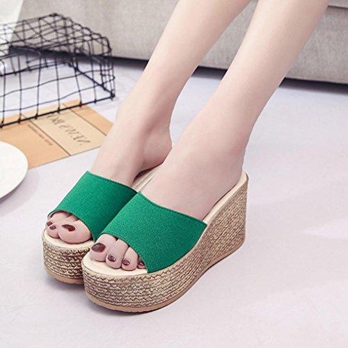 Pantoufle Chaussures Femmes Plateforme Sandales Mode Fond Toe Solide Hunpta Peep Plate Épais Vert 8zAw81q