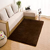 TMJJ Soft Shaggy Living Room Carpets Bedroom Area Rugs Home Decorative Floor Mats,63 x 47 inches,Coffee