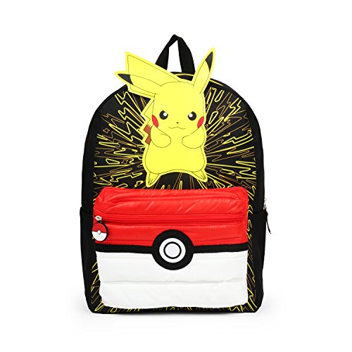 Pokemon 3D Pikachu with Puff'd Pokeball Pocket Backpack School Bag -