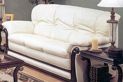 Amazon.com: Elegance Style Bone Color Top Grain Leather ...