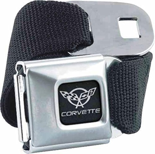 Licensed Officially Belt - American Made Dodge Corvette Car Logo Seatbelt Belt Buckle Officially Licensed Authentic Original Collectible New Rare Seat Belt Style Belt Buckle with Black Canvas Webbing.