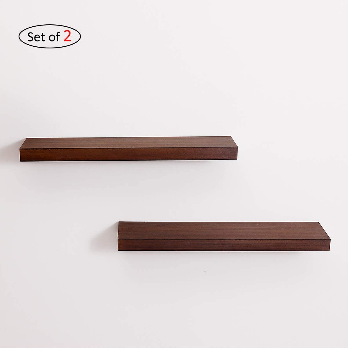 UMICAL Floating Shelves Premium 2 Tier Wood Wall Shelf Set of 2 , Hardware and Fasteners Included Walnut, 24 x 5