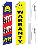 Car Auto Dealer Swooper Flutter Feather Flags & Poles 2 Pack-Best Buys-Warranty
