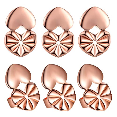 Post Earring Backs Earring Lifters Rose Gold Plated, Hypoallergenic Large Stud Earring Backings for Drooping Earlobe 3 Pairs/Set