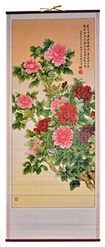 Rattan Wall Scroll - Flowers (Rattan Manau Cane)