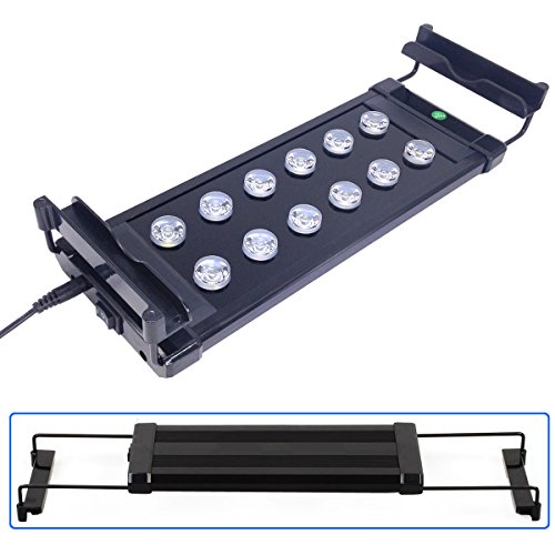 COODIA Aquarium Fish Tank LED Light with Extendable Bracket Aluminium Housing Super Bright Lamp Hood,10W Blue and White Color , Used for Freshwater and Saltwater