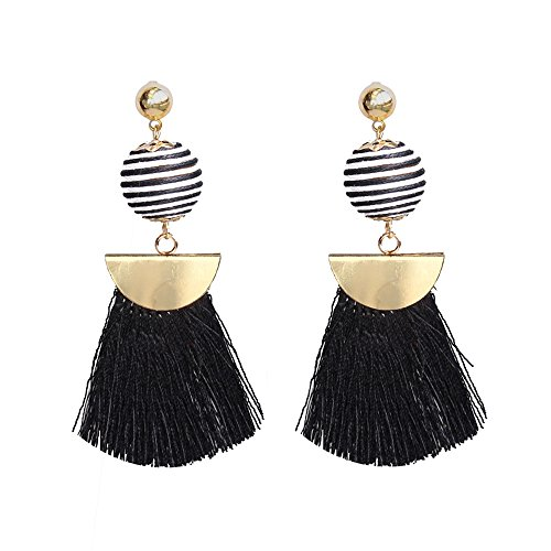 Belmarti Colorful Tassel Dangle Drop Globular Bohemian Thread Fringe Stud Earrings Multicolored Fashion Jewelry for Women (Globular Black)